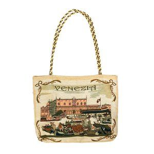 Venice Italy vintage embroidered tapestry tote bag
